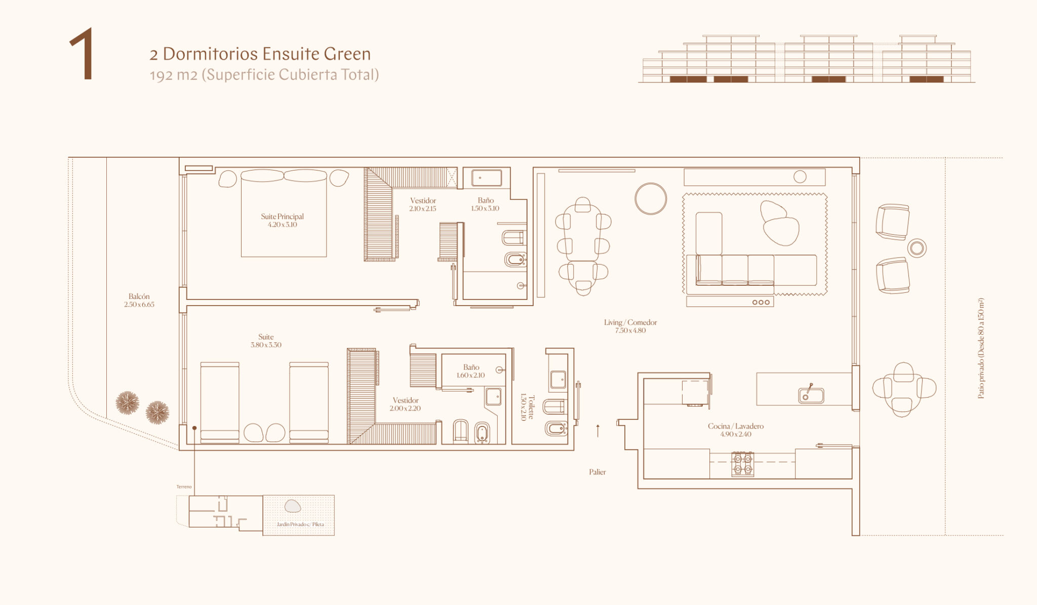 2 Dormitorios Ensuite Green