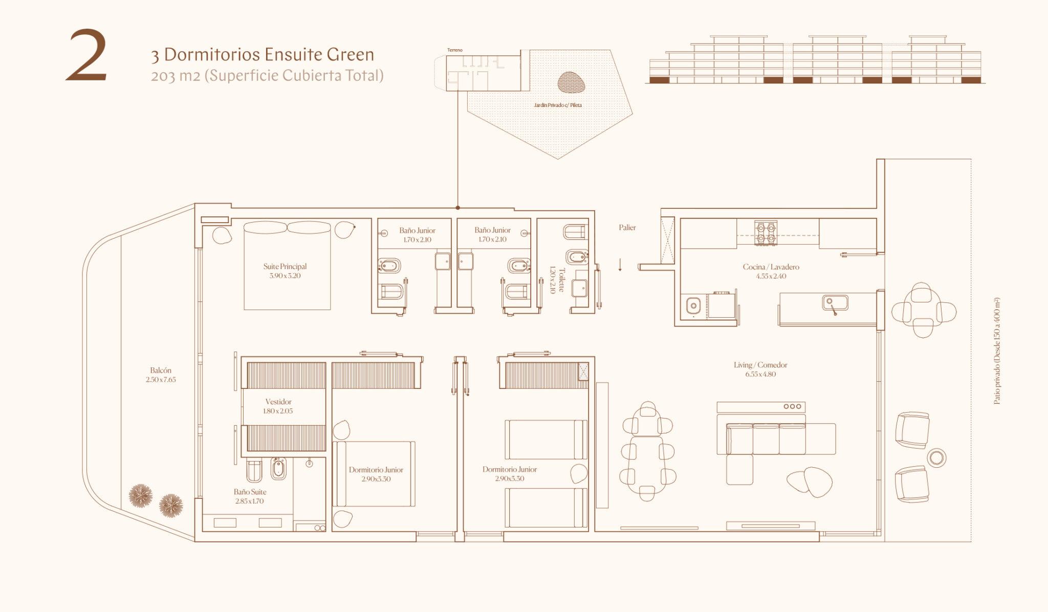 3 Dormitorios Ensuite Green